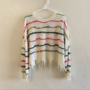 Wild Honey White Rainbow Striped Sweater Small